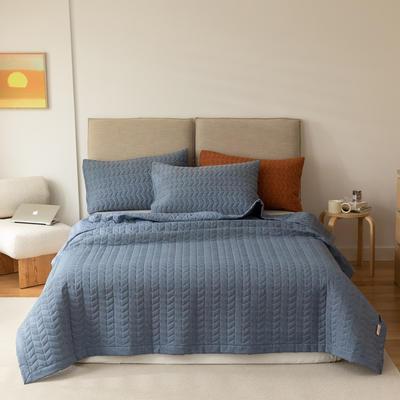 2021新款全棉色织水洗棉床盖 200*230cm 牛仔蓝