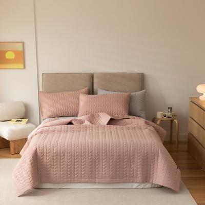 2021新款全棉色织水洗棉床盖 200*230cm 藕粉