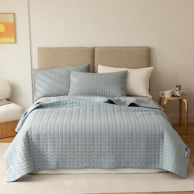 2021新款全棉色织水洗棉床盖 200*230cm 浅兰