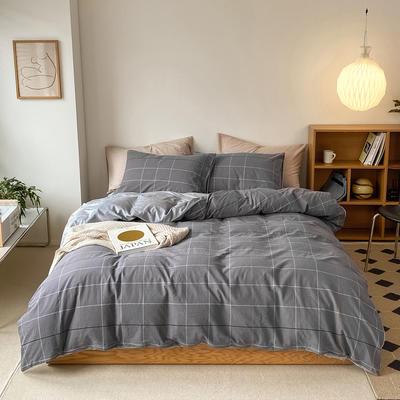 2021新款全棉色织水洗棉拼暖绒四件套 1.8m床单款四件套 可乐灰