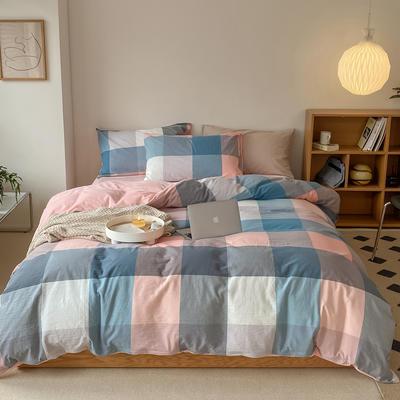 2021新款全棉色织水洗棉拼暖绒四件套 1.8m床单款四件套 罗马粉