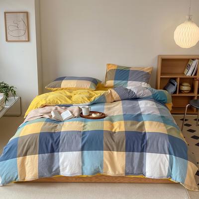 2021新款全棉色织水洗棉拼暖绒四件套 1.8m床单款四件套 罗马黄
