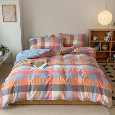 2021新款全棉色织水洗棉拼暖绒四件套 1.8m床单款四件套 英伦桔
