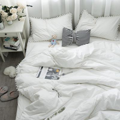 ins全棉水洗棉球球款四件套 1.2m(4英尺)床 白色