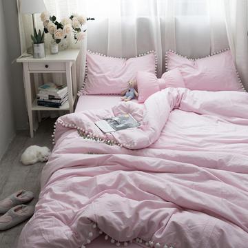 ins全棉水洗棉球球款四件套 1.2m(4英尺)床 粉色