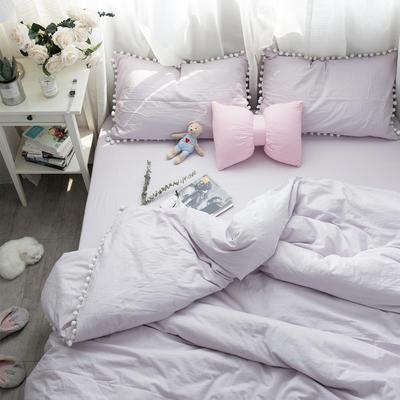ins全棉水洗棉球球款四件套 1.2m(4英尺)床 藕紫
