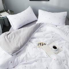 化纤水洗棉刺绣四件套 1.5m(5英尺)床 星空白