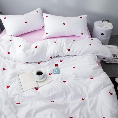 化纤水洗棉刺绣四件套 1.5m(5英尺)床 挚爱白