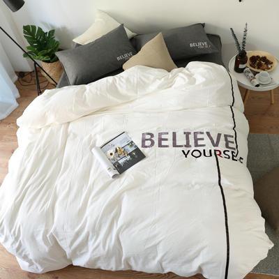 简约风色织水洗棉绣花四件套 1.5m(5英尺)床 BELIEVE白配灰