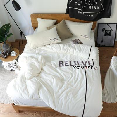 简约风色织水洗棉绣花四件套 1.8m(6英尺)床 BELIEVE纯白