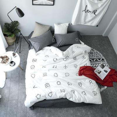 简约风色织水洗棉绣花四件套 1.5m(5英尺)床 MARK白配灰