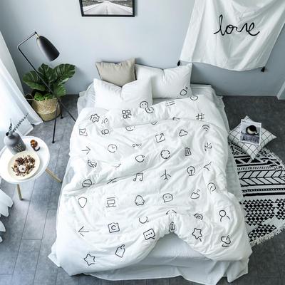 简约风色织水洗棉绣花四件套 1.5m(5英尺)床 藕MARK纯白