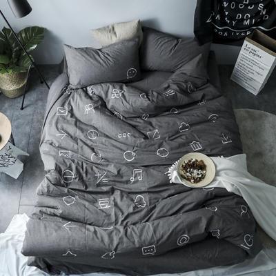 简约风色织水洗棉绣花四件套 1.5m(5英尺)床 MARK纯灰