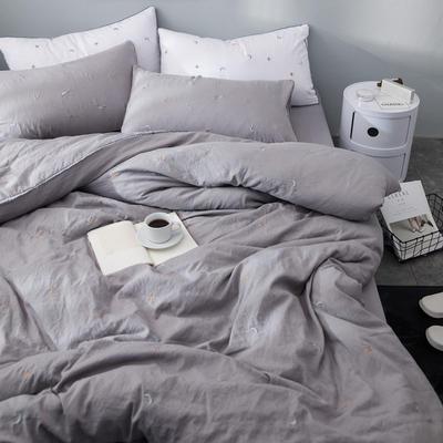 化纤水洗棉刺绣四件套 1.5m(5英尺)床 星空灰