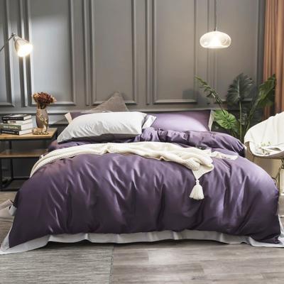 2019简约全棉60支贡缎刺绣长绒棉四件套欧式纯棉床上用品 2.0米床笠款 优雅紫