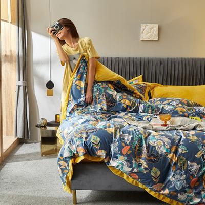 2019新款-丽丝绒数码印花宽边水晶绒四件套 床单款1.5m(5英尺)床 阿黛尔
