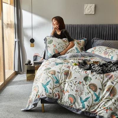 2019新款-丽丝绒数码印花宽边水晶绒四件套 床单款1.5m(5英尺)床 艾米