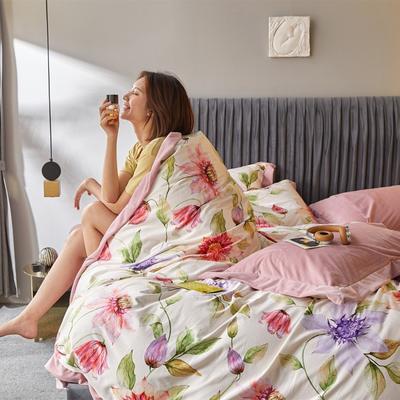 2019新款-丽丝绒数码印花宽边水晶绒四件套 床单款1.5m(5英尺)床 汉娜