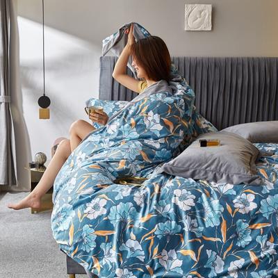 2019新款-丽丝绒数码印花宽边水晶绒四件套 床单款1.5m(5英尺)床 薇薇安