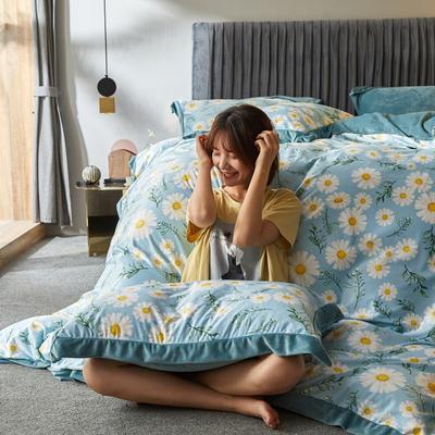 2019新款-丽丝绒数码印花宽边水晶绒四件套 床单款1.5m(5英尺)床 小雏菊(绿)