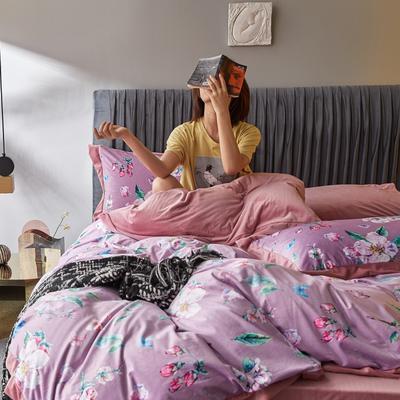 2019新款-丽丝绒数码印花宽边水晶绒四件套 床单款1.5m(5英尺)床 伊莱恩