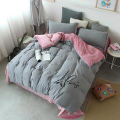 水洗棉宝宝绒双拼套件 小号(1.2m床)床单款 巴黎铁塔