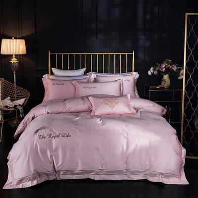 蓝迪丝 80s全棉四件套 高端长绒棉绣花四件套 1.8m(6英尺)床 皇家彩翼  粉色