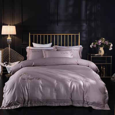 蓝迪丝 80s全棉四件套 高端长绒棉绣花四件套 1.8m(6英尺)床 皇家彩翼 香槟驼