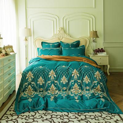 蓝迪丝 80s全棉四件套 高端长绒棉绣花四件套 1.8m(6英尺)床 卡曼-孔雀蓝