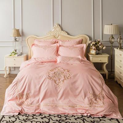 蓝迪丝 80s全棉四件套 高端长绒棉绣花四件套 1.8m(6英尺)床 欧雅格 粉玉