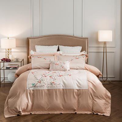 蓝迪丝 80s全棉四件套 高端长绒棉绣花四件套 1.8m(6英尺)床 十里桃花