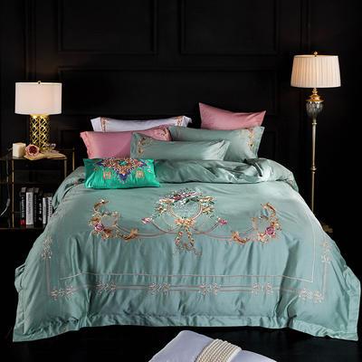 蓝迪丝 80s全棉四件套 高端长绒棉绣花四件套 1.8m(6英尺)床 夏洛克  浅草绿