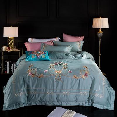 蓝迪丝 80s全棉四件套 高端长绒棉绣花四件套 1.8m(6英尺)床 夏洛克 蓝灰
