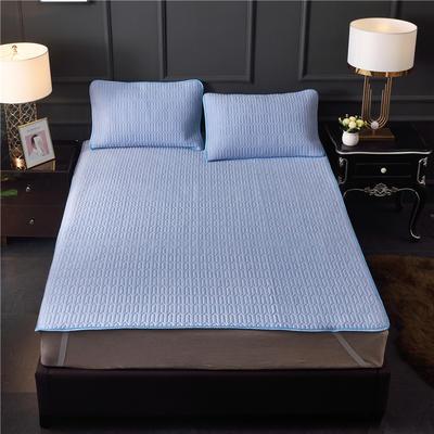 2019新款天丝乳胶凉席套件 天丝莫代尔乳胶软席三件套 150*200cm(三件套) 纯色-天蓝