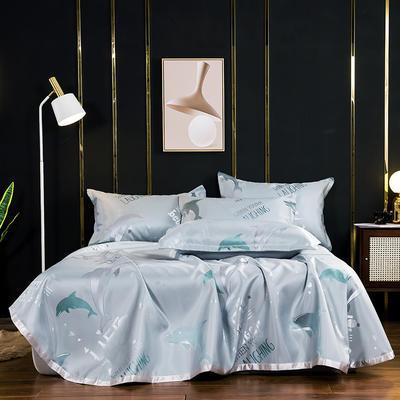 2020新款床单款提花冰丝凉席套件 235*250cm 海豚-绿