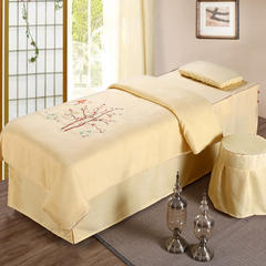 旺妙家纺    2018新品纯棉丝麻款锦上添花美容床罩五件套 脚枕含芯 锦上添花 黄