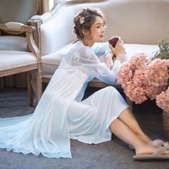 2018新款冰雪丝睡裙三件套 均码 蓝色