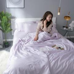 莫代尔夏被天丝夏被全棉夏被空调被纯色夏被韩版夏凉被印花夏凉被 200X230cm 倾心-浅紫
