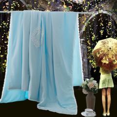莫代尔夏被天丝夏被全棉夏被空调被纯色夏被韩版夏凉被印花夏凉被 200X230cm 倾心-天蓝