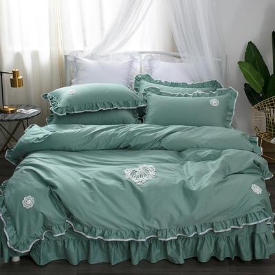 亿澜轩家纺韩版四件套天丝四件套全棉四件套纯色四件套公主四件套 1.2m(4英尺)床 流苏-浅绿