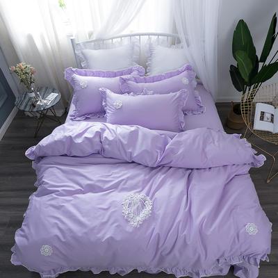 亿澜轩家纺韩版四件套天丝四件套全棉四件套纯色四件套公主四件套 1.2m(4英尺)床 流苏-浅紫