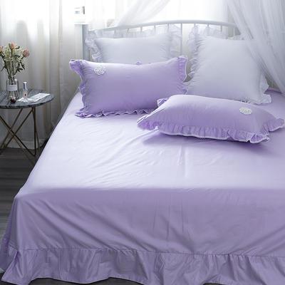 亿澜轩家纺全棉四件套纯色四件套公主四件套韩版四件套纯棉四件套 1.2m(4英尺)床 流苏-浅紫