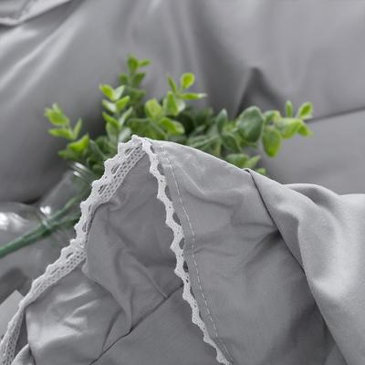 亿澜轩家纺全棉四件套纯色四件套公主四件套韩版四件套纯棉四件套 1.2m(4英尺)床 流苏-灰色