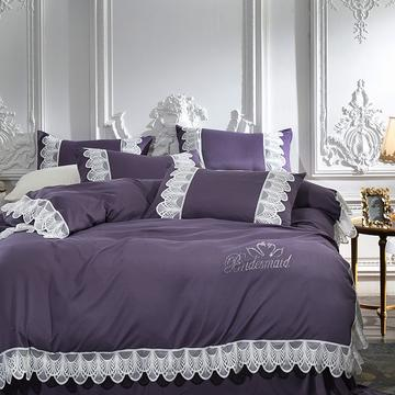 2018新柔棉磨毛蕾丝四件套韩版公主全棉加厚磨毛绒保暖四件套-优雅-烟紫