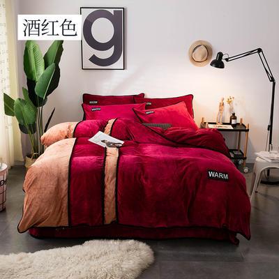2018新款水晶绒印花四件套-双拼 1.8m(6英尺)床 酒红色
