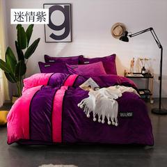 2018新款水晶绒印花四件套-双拼 2.0m(6.6英尺)床 迷情紫