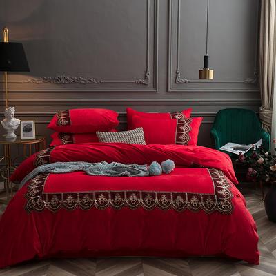 2018新款艾丽莎宝宝绒蕾丝绣花四件套 1.8m(6英尺)床 艾丽莎-大红