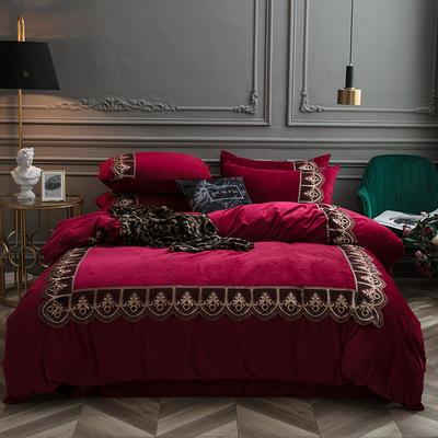 2018新款艾丽莎宝宝绒蕾丝绣花四件套 1.8m(6英尺)床 艾丽莎-酒红