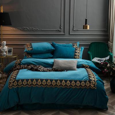 2018新款艾丽莎宝宝绒蕾丝绣花四件套 1.8m(6英尺)床 艾丽莎-孔雀蓝