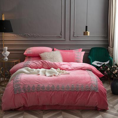 2018新款艾丽莎宝宝绒蕾丝绣花四件套 1.8m(6英尺)床 艾丽莎-桃粉色
